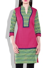 Pink, Green Cotton Printed Kurta - By