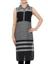 Black And Grey Printed Sleeveless Cotton Kurti - By