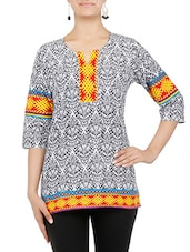 White And Grey Printed Quarter Sleeved Cotton Kurti - By