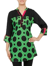 Green Printed Quarter Sleeved Cotton Kurti - By