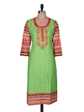 Green Quarter Sleeve Printed Kurta - Prakhya