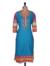Embroidered Printed Cotton Kurta Cotton Kurta - Prakhya