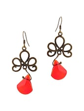 Antique Gold And Red Earrings - By
