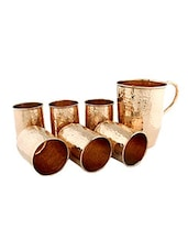 Copper Hammered Jug And Set Of 6 Glasses - By