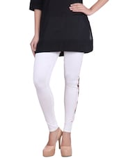 Off WHITE Cotton Lycra Leggings - By