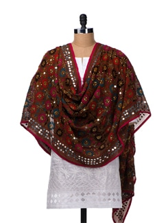 Brown Hand Embroidered Dupatta - Vayana