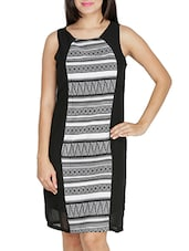 Monochrome Printed Knee Length Dress - By