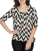 Monochrome chevron printed georgette top -  online shopping for Tops