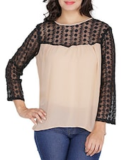 Peach Georgette Top With Lace Yoke And Sleeves - By