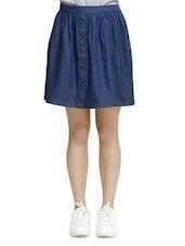 Casual Blue Denim Skirt - Oxolloxo