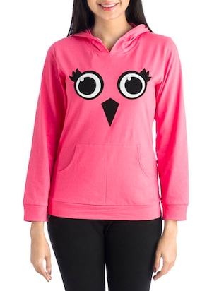 Pink and Black Owl Cotton Hoodie