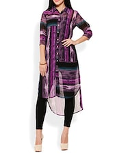 Purple Printed High-Low Kurta - By