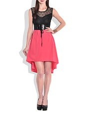 Black And Coral Asymmetrical Sleeveless Dress - By