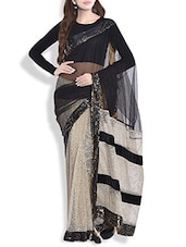 Gold And Black Net Saree With Sequined Border - By
