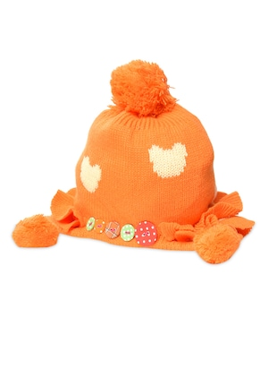 Orange embellished acrylic pom pom cap