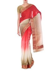 Beige And Red Shaded Art Silk Saree - By
