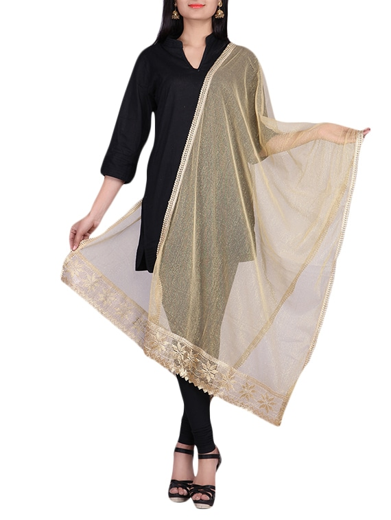Gold Net Dupatta With Laced Border - By