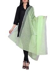 Light Green Embroidered Net Dupatta - By