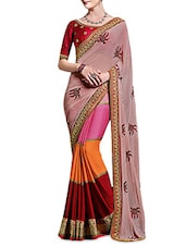 Pink Chiffon Georgette Embroidered Sari - By