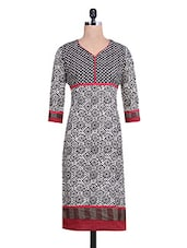 Printed Black And White Cotton Kurta - By