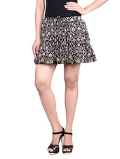 Black Printed Cotton Mini Skirt - By