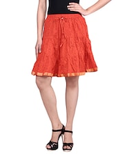 Orange Printed Cotton Gathered Skirt - By