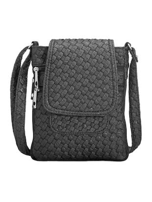 Black textured sling bag
