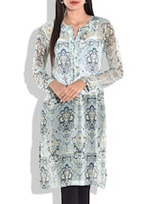 Light Blue Printed Full Sleeved Kurta - By