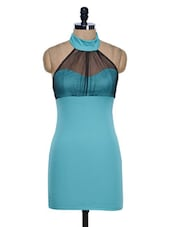 Turquoise Halter Neck Bodycon Dress - 399