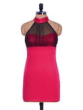 Pink Halter Neck Bodycon Dress - 399