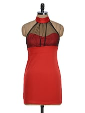 Red Halter Neck Bodycon Dress - 399