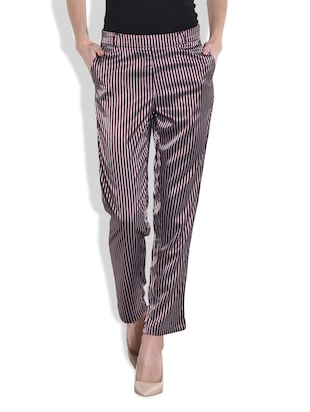 wine stripped ankle-length pants