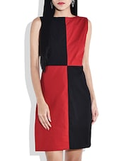 Red And Black Color Block Dress - By
