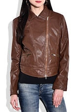 Solid Brown Full Sleeved  Jacket - By