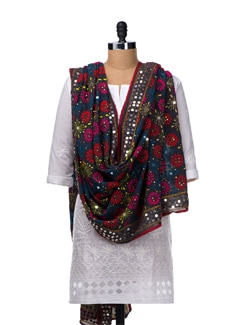 Grey Hand Embroidered Dupatta - Vayana