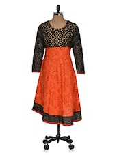 Black & Orange Color Block Kurti - Ridhi Siddhi