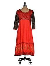 Red Kurti With Black Color Block Sleeves - Ridhi Siddhi