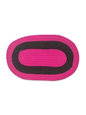 Pink And Black Oval Cotton Doormat - By
