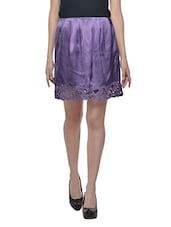 Purple Cutwork Knee Length Skirt - Trendz Clothing