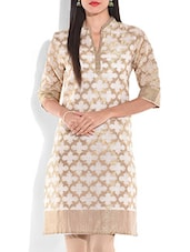 Chanderi Cotton Brocade Off White And Gold Kurti - By