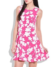 Pink And White Floral Print Short Dress - By