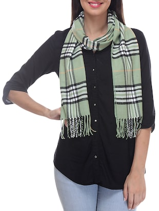 green check print angora wool muffler