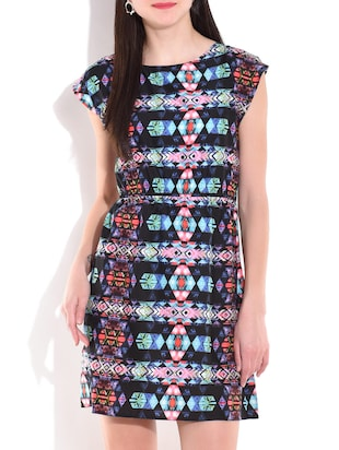 Multicolored aztec printed dress