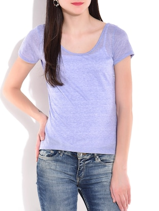 solid lilac viscose jersey with cross back