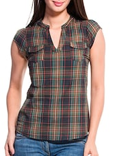 Green And Brown Checkered Top - ZOVI