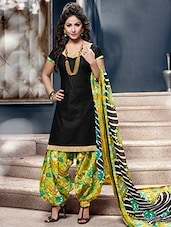 Black And Green Printed Semi Stitched Suit Set - By