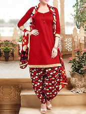 Red Printed Semi Stitched Suit Set - By