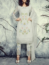 Off White Embroidered Semi Stitched Suit Set - By
