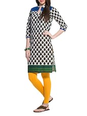 Off White Kurta With Green Leaf Print - ZOVI