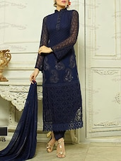 Navy Blue Chiffon Embroidered Suit Set - By